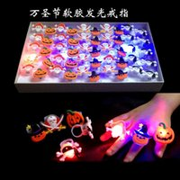 Wholesale Halloween LED Pumpkins Ring Skull Flashing Rubber Ring Cartoon Children Finger Toys Hot Sale