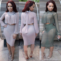 Casual Dresses   Sexy Club Bodycon Bandgae Dress Semi Sheer Long Sleeve Two Pieces Vestido Outfit Women Party Bodycon Bandage Dresses Free Shipping