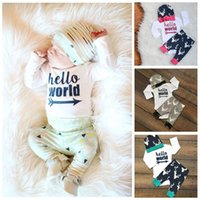 Wholesale 2016 Newborn Infant Baby Girl Boy Tops Romper Deer Leggings Pants Hat letetr Outfits Set US