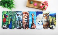 bear slippers men - 3D Short tube Harajuku style personality cotton socks pattern item A painting parrot Giraffe polar bear tiger lion owl deer peacock