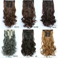 Wholesale 22inch g Curly human natural hair clip in hair extension set many colors cheap and high quaily