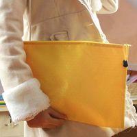Wholesale 10pcs Waterproof File Bags With Zipper File Folder Canvas Zipper Paper Clip Pencil Bag File Bag School Office Supplies Papelaria
