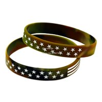 Wholesale Hot Sell PC Camouflage Colour US Flag Silicone Wristband Fashion Bracelet Filled in Colour with Logo