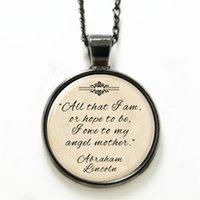 abraham lincoln - 10pcs Mother necklace owe to my angel mother necklace print photo Abraham Lincoln necklace