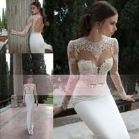 Wholesale Hot Cheap Lace Sheer Sheath Wedding Dresses Sexy Berta Jewel Long Sleeves Backless Appliques Glitz Spring Arabic Bridal Gowns BO3910