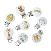 Wholesale 2015 Fashion Wooden Baby Pacifier Clips Clasps Wooden Round Cartoon Pattern New Baby ProductsB44992 babi