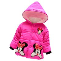 Wholesale 2016 Winter Years Cute Cartoon Mickey Kids Children Baby Girls Snowsuit Long Sleeve Hooded Down Coat Cotton Outerwear Clothes MC0167