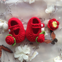 Wholesale Crochet Shoes Baby Prices - Hot Sale Crochet Baby boy Sandals,Summer Handmade Crochet Baby Shoes Red Rose Flower Best Price and High Quality Free Shipping
