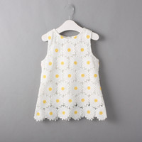 Wholesale Cute Toddler Lace Daisy Dress Flower Girls Dress Children White Top Rated Hot Selling Sleeveless Summer One piece Toddler Clothing Garment