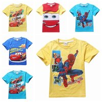 Wholesale New Kids Tees Boys Cotton Short Sleeved T shirts Blaze And The Monster Spiderman Cartoon T shirt Kids Boys Clothing