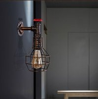 Wholesale ndoor Lighting Wall Lamps Loft Style Iron Cage Water Pipe Lamp Edison Wall Sconce Industrial Vintage Wall Light Fixtures For Home Indoor