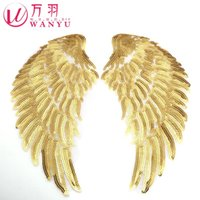bead work design - 2016 Parches Bordados Feather Silver Sequins Paste Golden Wings Cloth Clothing Accessories Design Diy Beads Adhesive Patch