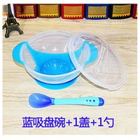 Wholesale Newborn eating training tableware temperature drop baby sucker bowl Children s complementary food PP bowls baby bowl spoon set