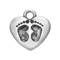 Cheap Myshape Charms Jewelry 18K gold & silver plated heart charm baby footprint charm the pendant for bracelets necklaces making
