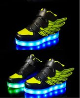 red wing shoes - 2016 new USB Children s luminous LED Shoes Casual Shoes Wings casual shoes kids Sports shoes