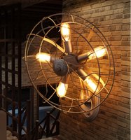 Wholesale Vintage Wrought Iron Metal Fan Droplight Steampunk Ceiling Droplight