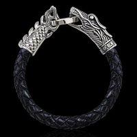 achat en gros de bracelets en cuir mâles authentiques-Cuir véritable Tressé Bijoux Bracelet en acier inoxydable dragon Homme Bangles Titane Acier Mode Vintage Hommes