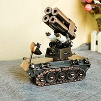 Cheap Automatic Launch Rocket Creativity Handicrafts Tank model Kids Toys Stainless steel model toys