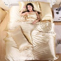 beddings and linens - Bedding Set Satin Bed Linen Bedclothes Coverlet and Plaids Solid Camel Satin Duvet Cover Sets King Queen Size Beddings