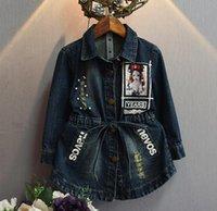 bee cottons - 2016 Autumn Girls Dress Long Sleeve Denim Dress Bee Embroidery Childrens Clothing Girls Cotton Princess Dress Girls Party Dress jacket