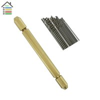 Wholesale Best Brass Hand Drill Jewelry Craft Handle Pin Vise Hole Drill Burs Drilling Reamer Chuck with pc mm Micro Twist Drills order lt no