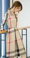 Wholesale New Style Hot sale Fashion Princess Lovely Girl elegance loose long section Hitz Slim thin long sleeved plaid casual dress