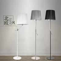 adjustable rocker arms - Adjustable swing arm floor lamp Living room bed room rocker arm floor light V Black White Silver