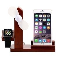 Wholesale 3 in Wooden Ports USB Charger Holder with Mini Fan USB Power Supply for Apple Watch iPhone Plus iPhone