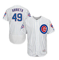 Wholesale MENS CHICAGO CUBS JAKE ARRIETA WHITE ROYAL PINSTRIPE BASEBALL JERSEY W YEARS AT WRIGLEY FIELD PATCH
