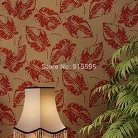 asia grade - Euroart Luxury High grade Velvet Non woven Wallpaper Leaves Bedroom TV Setting Wall paper Mural Flocking Wallpaper Home Decor