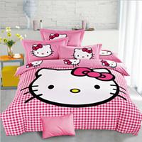 Wholesale Plaid Pink Hello Kitty Bedding Set Cartoon Duvet Cover Bed Sheet Pillowcase Set for Girls Bedclothes Gift Summer Duvet Cover