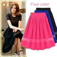 Wholesale 2016 New Chiffon Skirts For Women Solid Pleated Hollow Out Skirts Plus Size Women s Dresses Fashion Wild Patchwork Summer dress