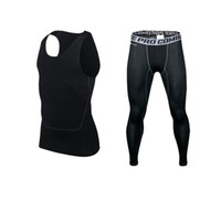 Wholesale Men Running Bodybuilding Skin Tights Sport Tracksuits Training Fitness Crossfit GYM pants top set Compression pant Fashion Elastic Jogger