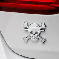 Wholesale Car Sticker Emblem Badge Also For Motorcycle Skull One Piece Metal Silver x5 cm Tuning Car Styling Accessories