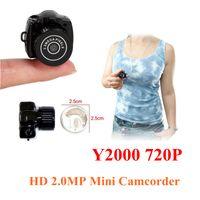 Wholesale DHL free The World smallest camera Mini HD Y2000 Video Camera Small Mini Pocket DV DVR Camcorder Recorder Spy Hidden Web Cam