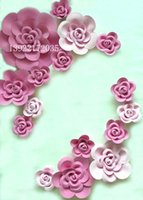 big mounts - 16pcs different sizes Combination Foam Paper big rose flowers for Wedding background decorations
