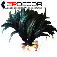 Wholesale ZPDECOR Good Selling cm inch Top Quality Dyed Black Rooster Tail Feathers for DIY Craft Decoration