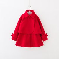Cheap Fashion Kids Girls Christmas New Turn-down Collar Sets Pretty Design Poncho + Solid Color 2PCS Wholesale Kids Clothing