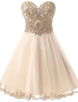 Cheap Corset Homecoming Dresses Short 2016 Free Shipping Vestidos Pelo Joelho Formal Champagne Prom Dresses with Crystals