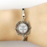 Wholesale The cure for Autism is Unconditional Love Glass Dome Lace Charm Bracelet sentence rating Photo Silver Bracelet High Quality Design