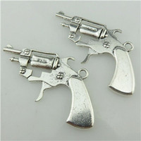 army weaponry - 20232 Vintage Silver Filigree Men Weaponry Military Army Handgun Pendant