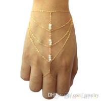 slave bracelets - New Boho Jewelry fashion Multi golden chain tassel finger ring bracelet chain slave bracelets and short bangle