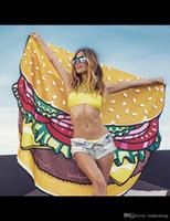 Wholesale Sexy Shawl Lie on Donut Pizza Hamburger Round Towel Bohemian Thin Chiffon Fabric Beach Printed Sofa Yoga Mat Mandala cm pashima