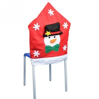 Wholesale High Quality Environmentally Friendly Non Woven Semi Manual Semi Mechanical Christmas Snowman Chair Cover Red Color
