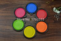 Wholesale 100pcs Collapsible Foldable Portable Silicone Travel Pet Feeding Bowl Dog Cat Food Water Travel Dish Feeder
