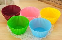 Wholesale 2016 New Fashion cm Round shape Silicone Muffin Cases Cake Cupcake Liner Baking Mold colors choose