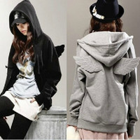 Wholesale 2016 NEW Women Girls Angel Wings Hoodie Jacket Sweatshirt Hooded Coat Outerwear Tops