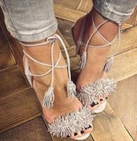 Wholesale Latest Summer Style Shoes Woman Designer Wild Things Tasseled Suede Fringe Gladiator Sandals Women High Heels Party Shoes Hot