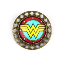 Wholesale Freeshipping a DC Comic Marvel Wonder Woman Glass Cabochon Brooch Pin Movie Jewelry