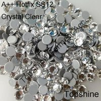 Wholesale Top Quality Hot Fix Stones mm SS12 Crystal Clear Super Bright Strass Hotfix Rhinestones For Luxury Dress